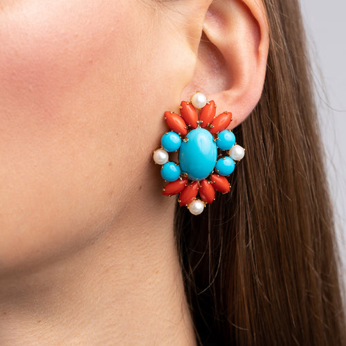 Gold with Turquoise Center and Coral and Pearl Clip Earrings