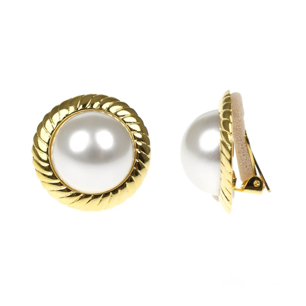 Cultura Pearl & Polished Gold Button Clip Earrings