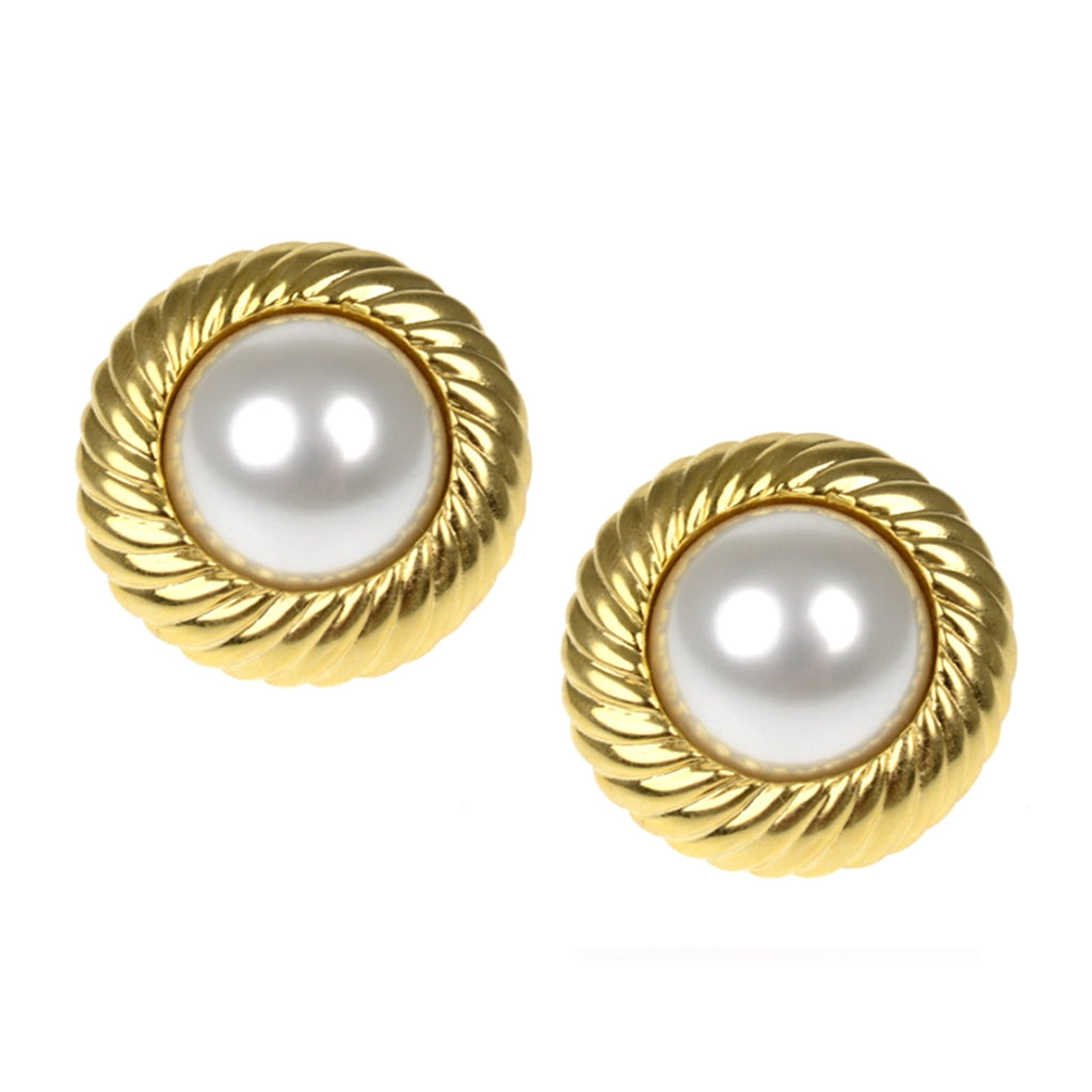 Cultura Pearl & Polished Gold Clip Earrings