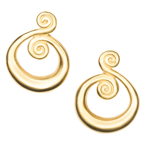 The Daily/May 2017 - Satin Gold Swirl Pierced or Clip Earrings