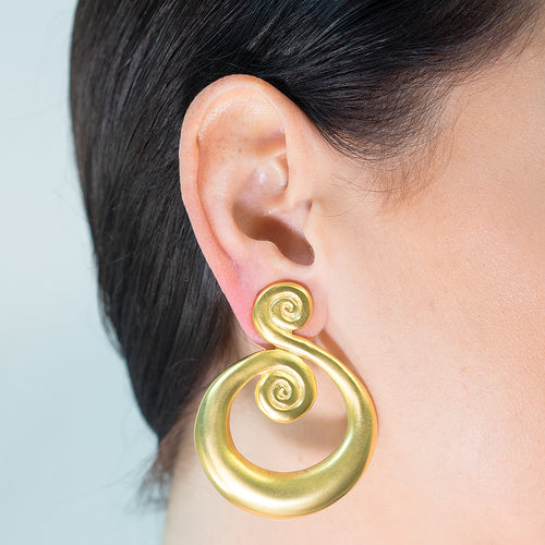 Satin Gold Swirl Clip Earrings