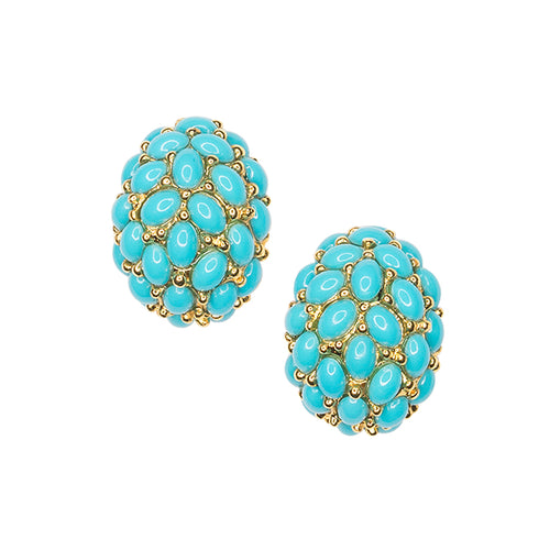 Turquoise Cabochon Hoop Clip Earrings