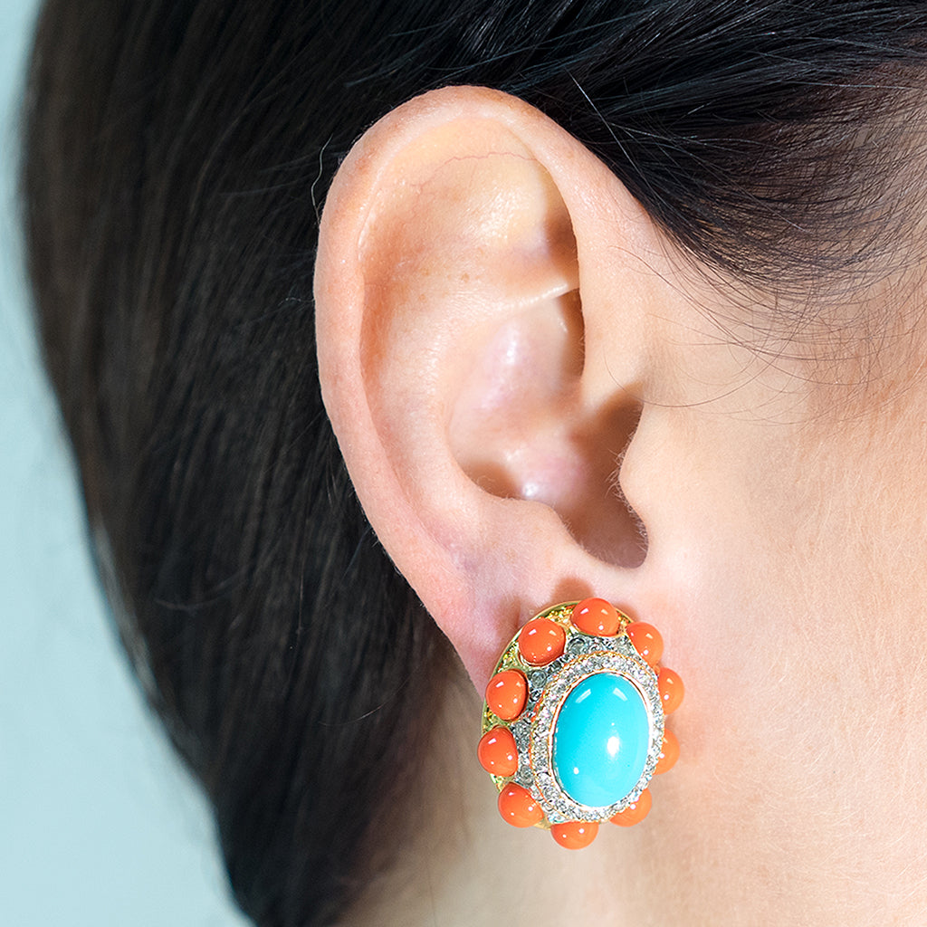 Coraline And Turquoise Clip Earrings