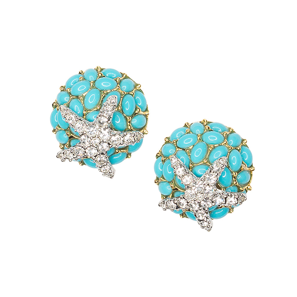 Turquoise And Crystal Starfish Clip Earrings