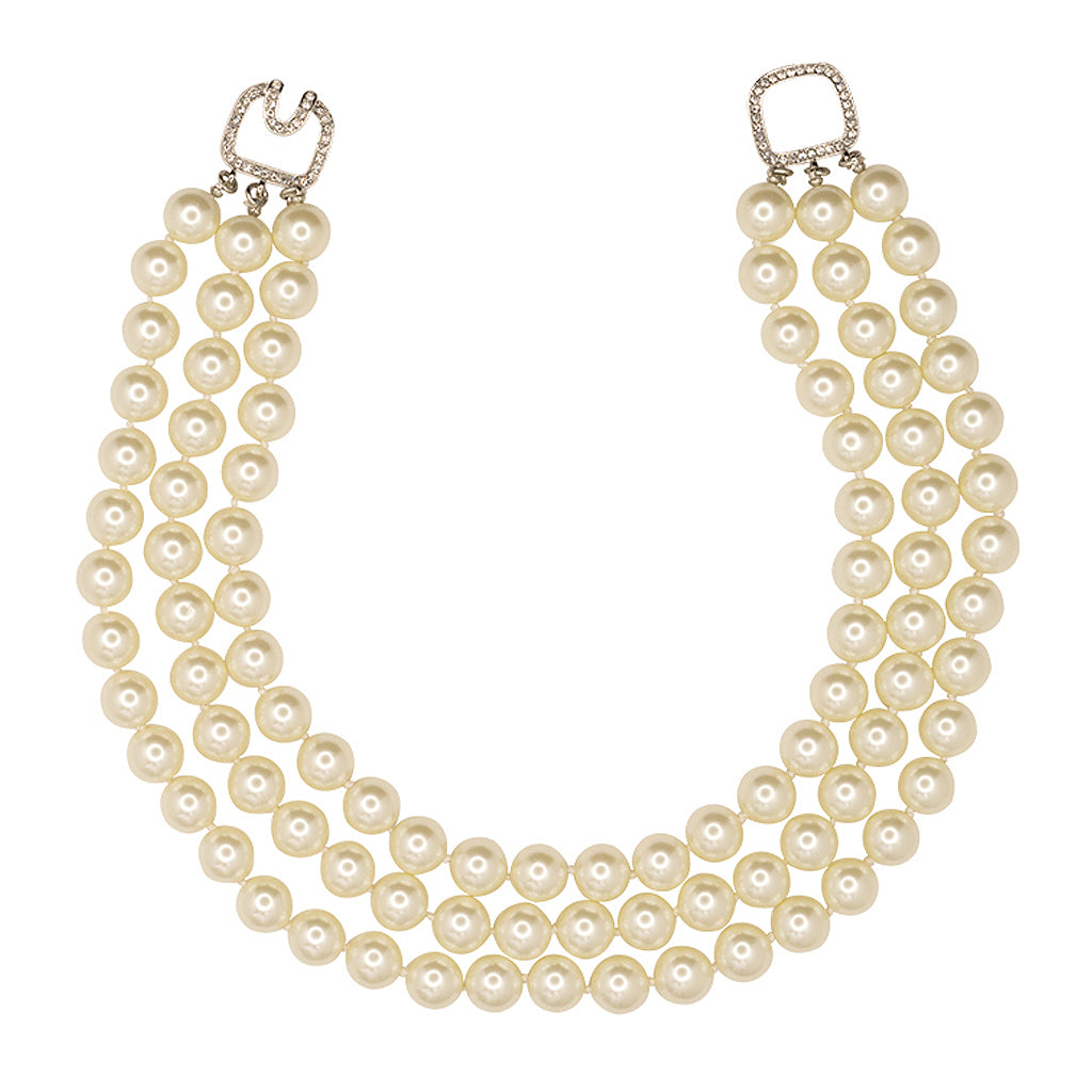 3 Row Pearl Necklace With Silver Clasp