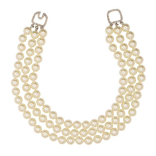 3 Row Pearl Necklace in Silver Clasp