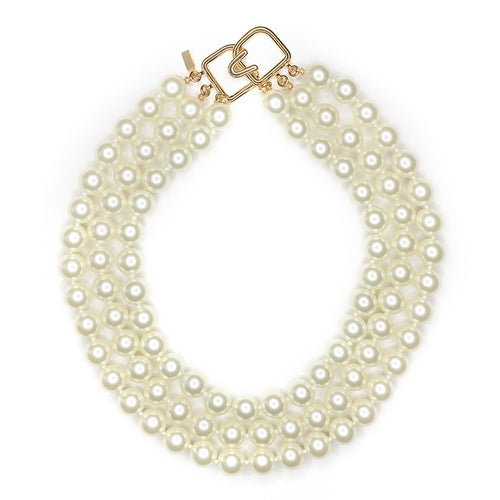 3 Row Pearl Necklace Gold Clasp