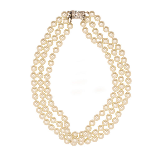 Pearl Deco Clasp Jackie O Necklace