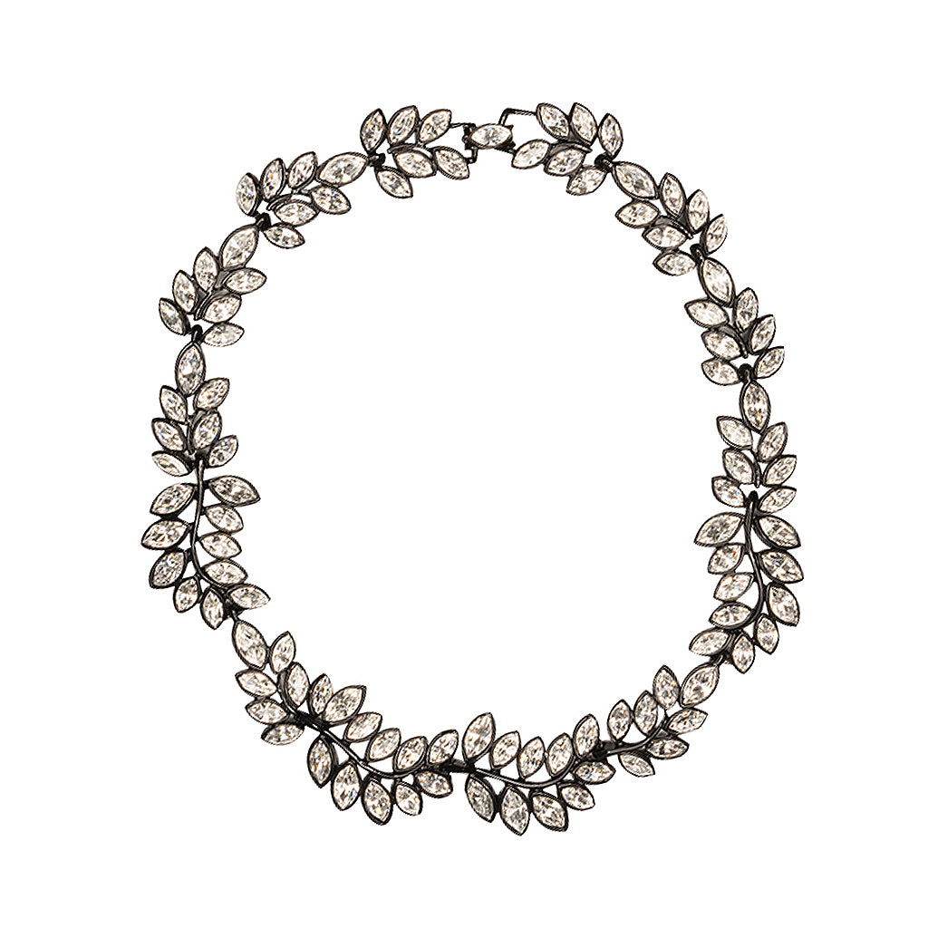 Black Plated Flower Crystal Necklace