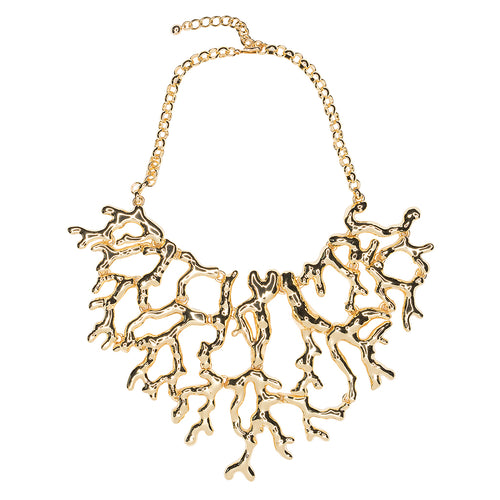 Polished Gold Coral Branch Necklace