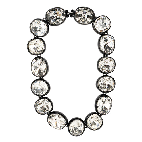 Black Plated Crystal Necklace