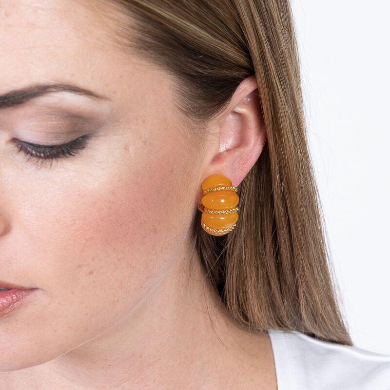 Amber Resin Gold Wire Wrapped Clip Earrings