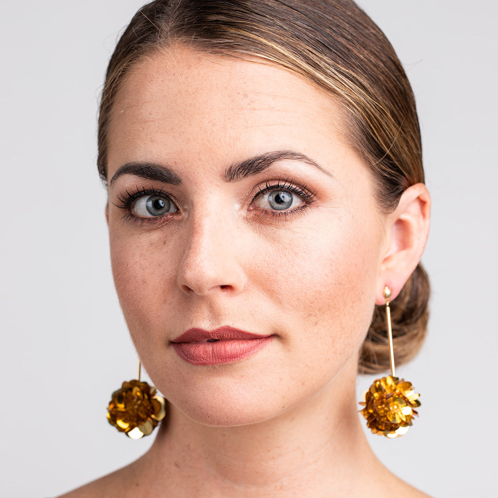 Gold Stick with Gold Resin Cluster Pierced Earrings