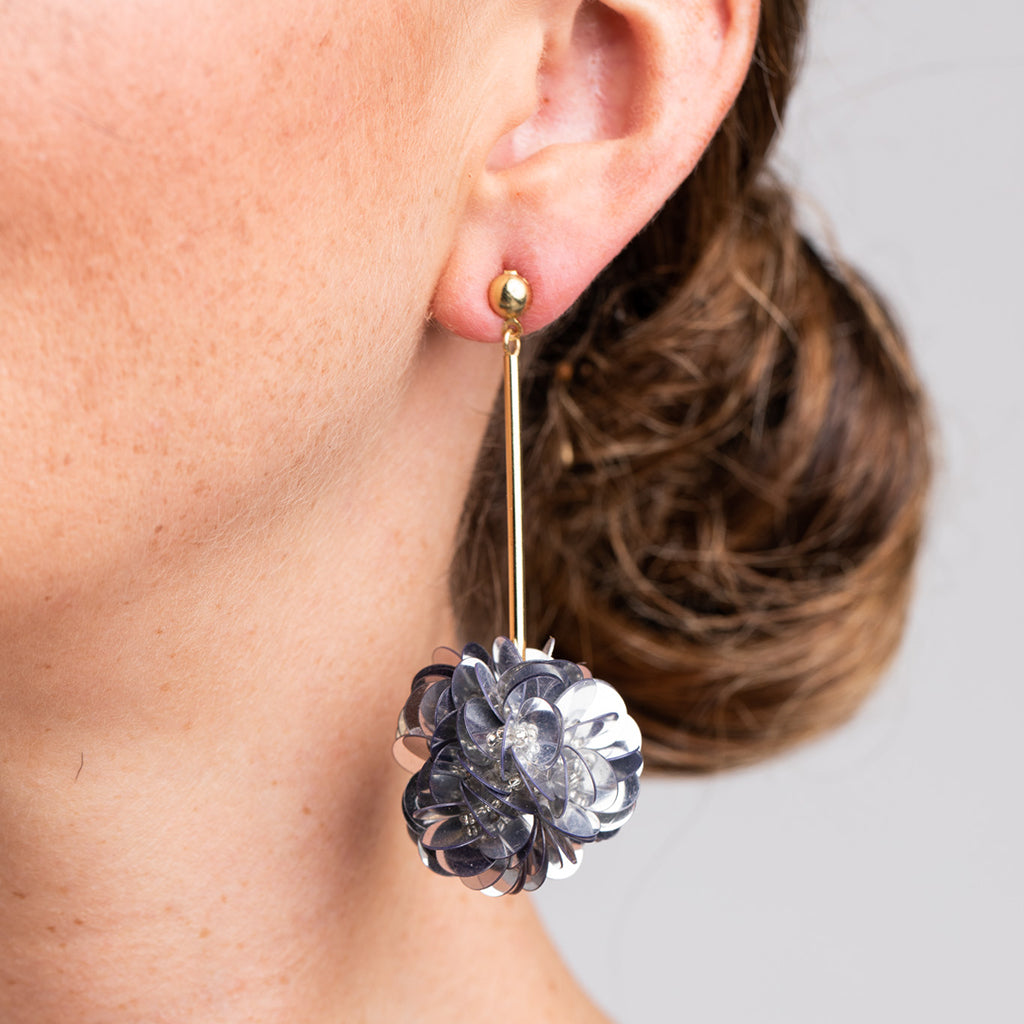Gold Stick with Silver Resin Cluster Pierced Earrings