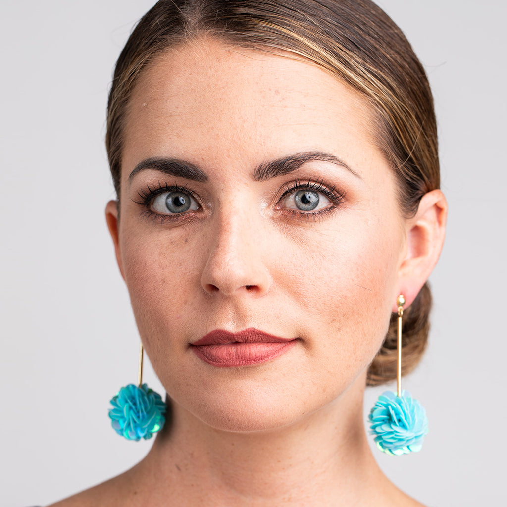 Gold Stick with Aqua Blue Resin Cluster Pierced Earrings