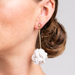 Gold Stick with White Resin Cluster Pierced Earrings