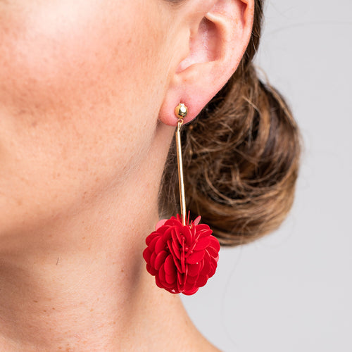 Gold Stick with Burgundy Resin Cluster Pierced Earrings