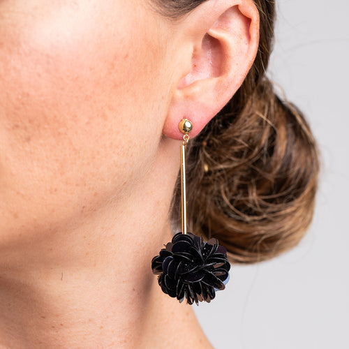 Gold Stick with Black Resin Cluster Pierced Earrings