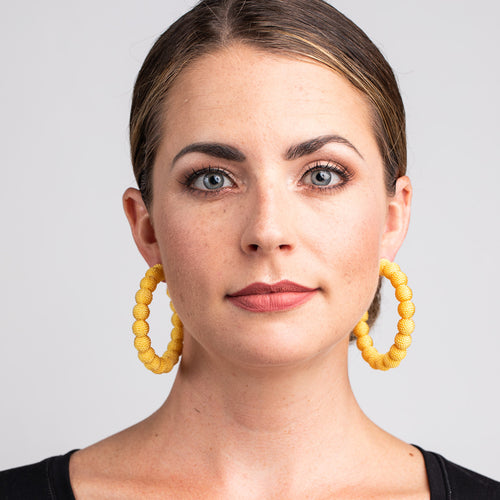 Yellow Thread Ball Hoop Pierced Earrings