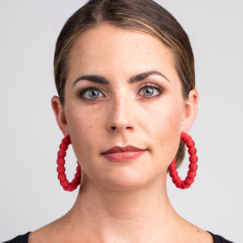 Red Thread Ball Hoop Pierced Earrings
