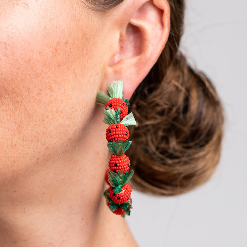 "Gold ""C"" Hoop Pierced Earrings with Strawberries"