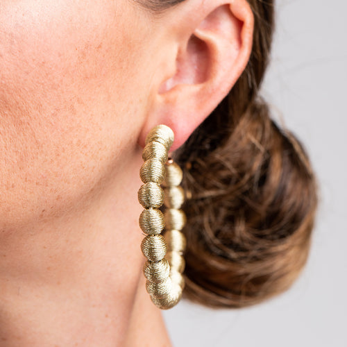 Gold Thread Ball Hoop Pierced Earrings