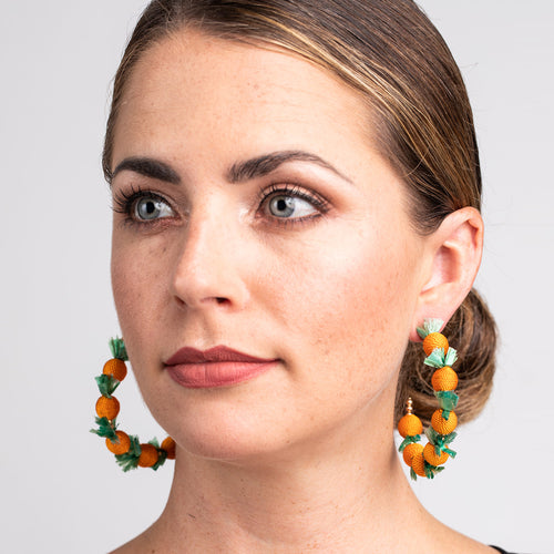 "Gold ""C"" Hoop Pierced Earrings with Oranges"