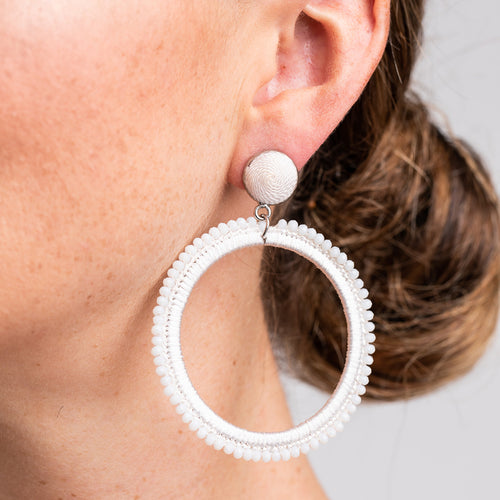 White Thread with White Beads Open Circle Pierced Earrings
