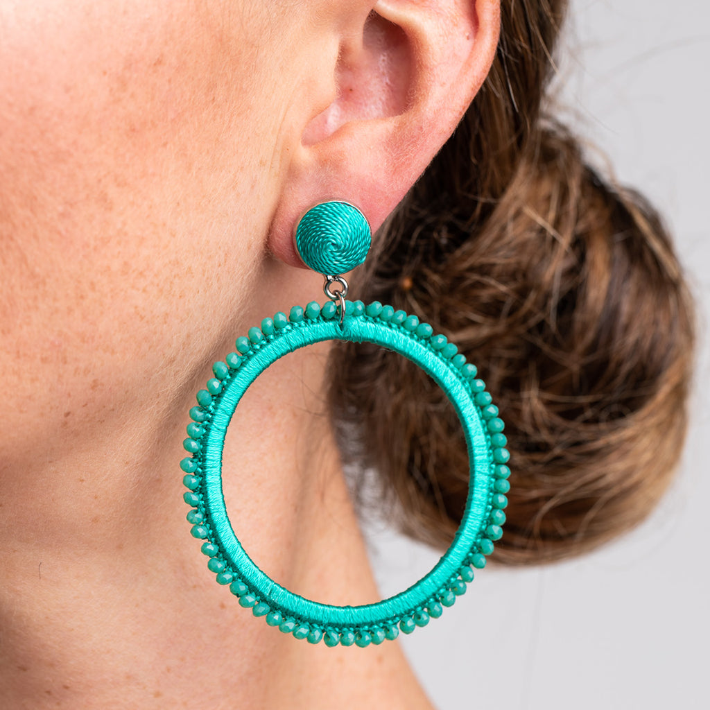 Turquoise Thread with Turquoise Beads Open Circle Pierced Earrings