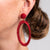 Maroon Thread with Maroon Beads Open Circle Pierced Earrings