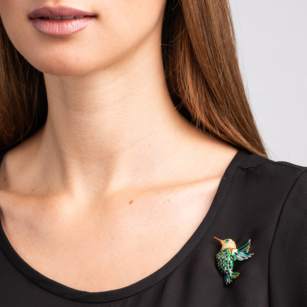 Gold with Green and Lapis Enamel Hummingbird Pin