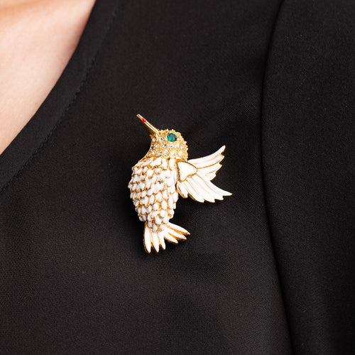 Gold with White Enamel Hummingbird Pin