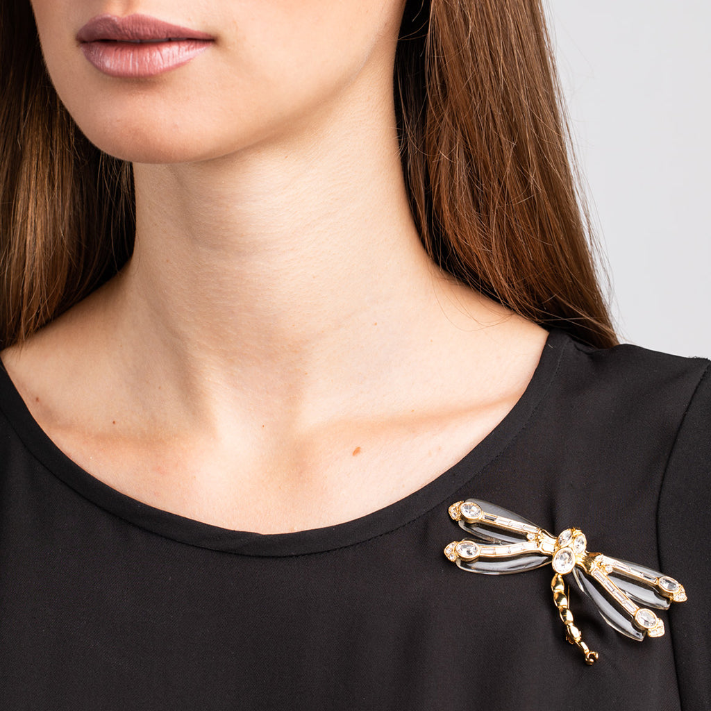 Gold and Crystal Dragonfly Pin with Clear Resin Wings