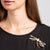 Gold and Crystal Dragonfly Pin with Black Resin Wings