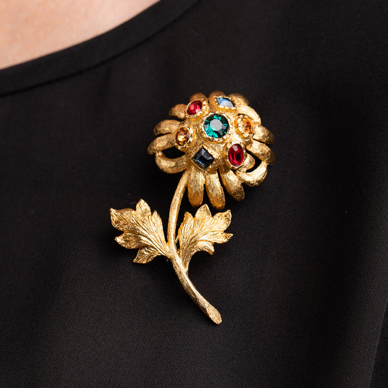 Gold Flower with Multi Gem Pin