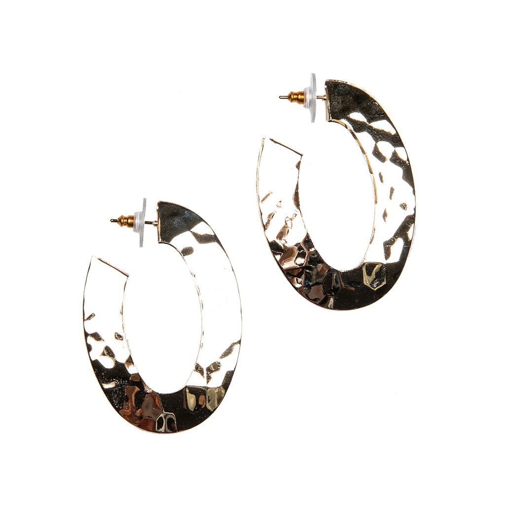 "Textured Gold ""C"" Hoop Pierced Earrings"