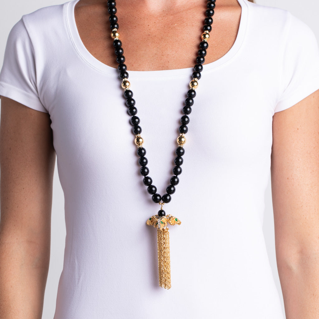 Ram Head Pendant and Black Bead Necklace with Tassel