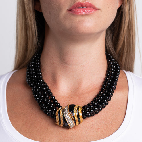 5 Row Black Bead Necklace