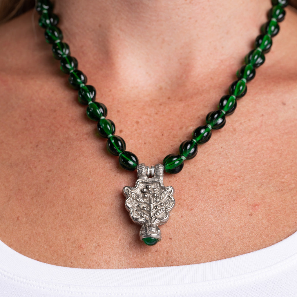 Emerald Necklace with Silver Pendant