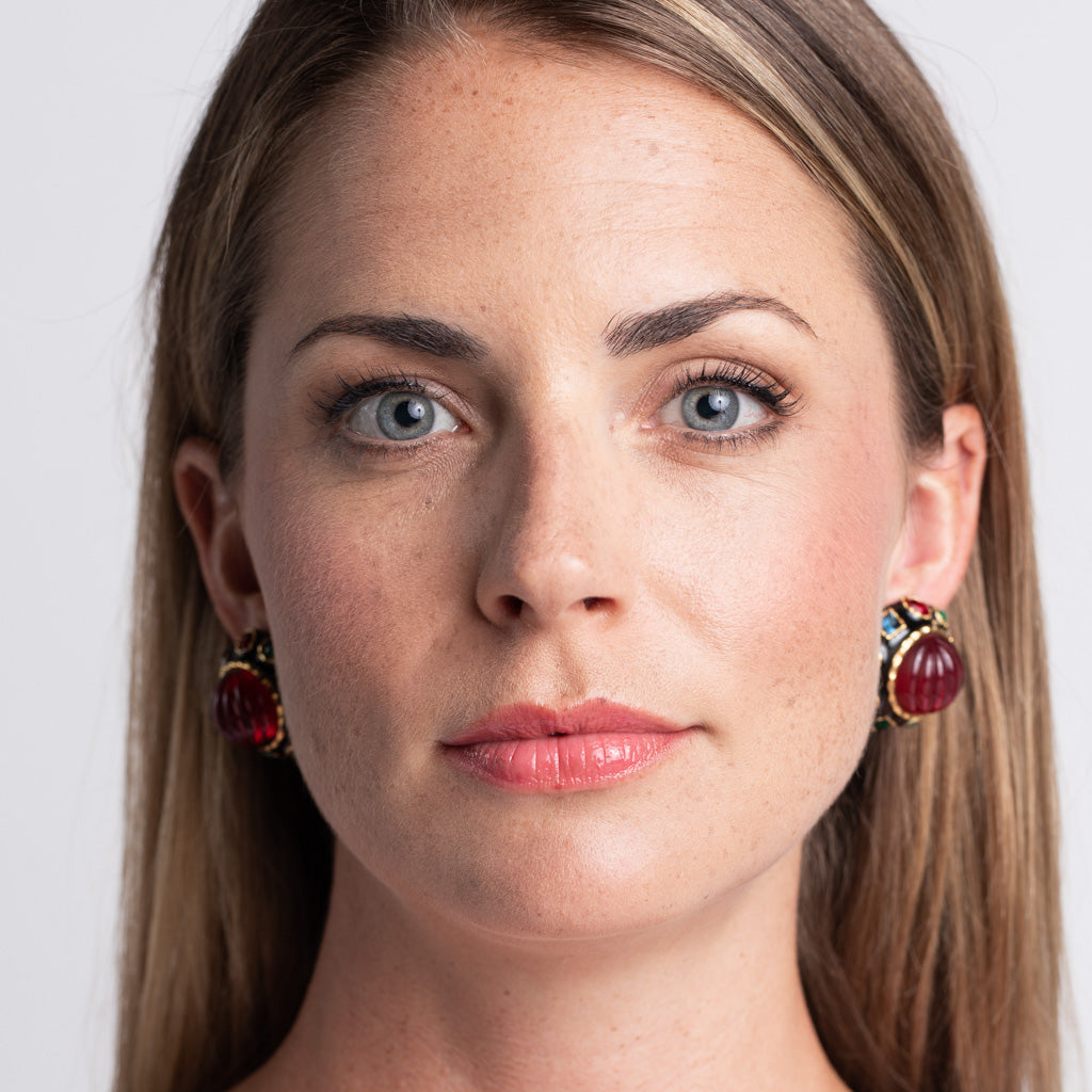 Ruby Center Button Clip Earrings