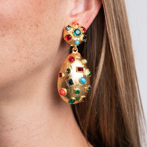 Multi Color Cabochon and Rhinestone Clip Earrings