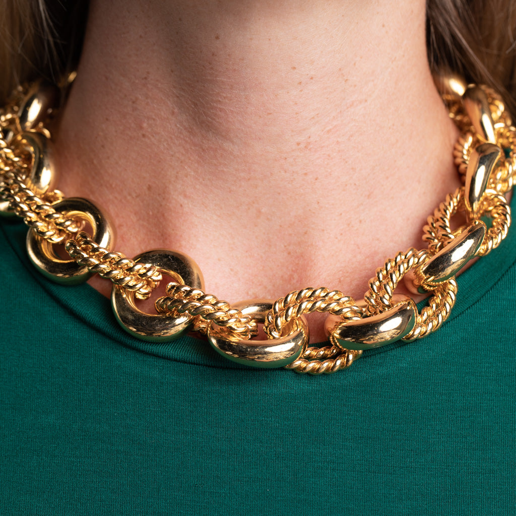 Polished Gold Link Necklace
