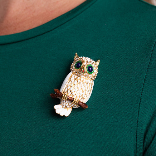 Gold with White Owl Pin