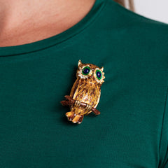 Gold with Yellow and Brown Owl Pin