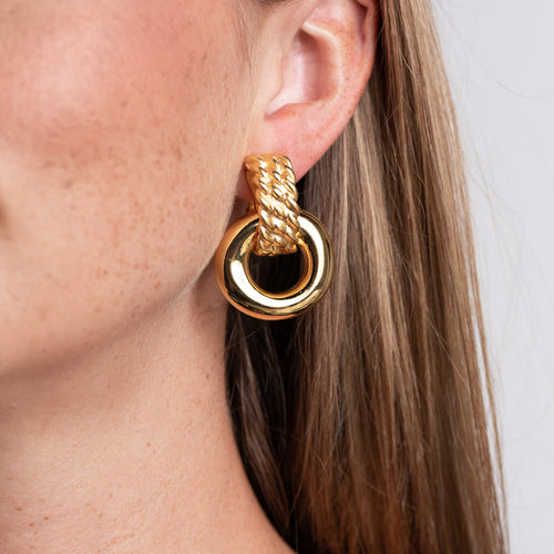 Polished Gold Doorknocker Clip Earrings