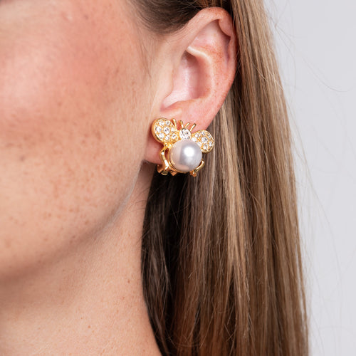 Cultura Pearl Bee Clip Earrings