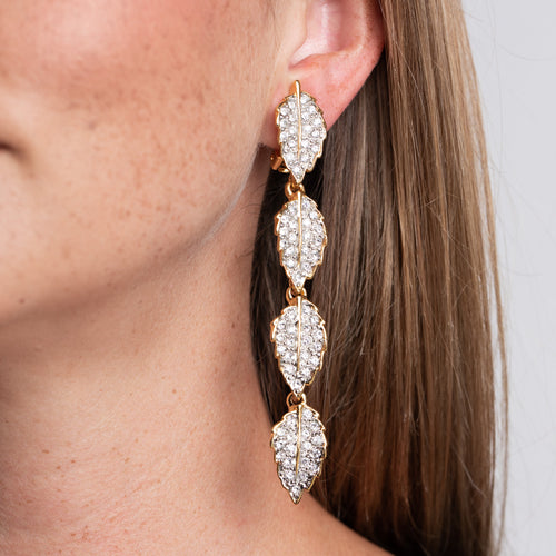 Rhinestone Leaves Clip Earrings