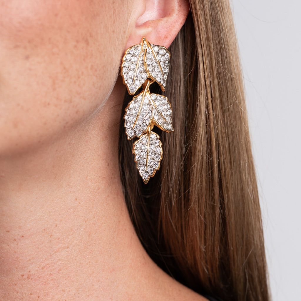 Gold Leaves Clip Earrings