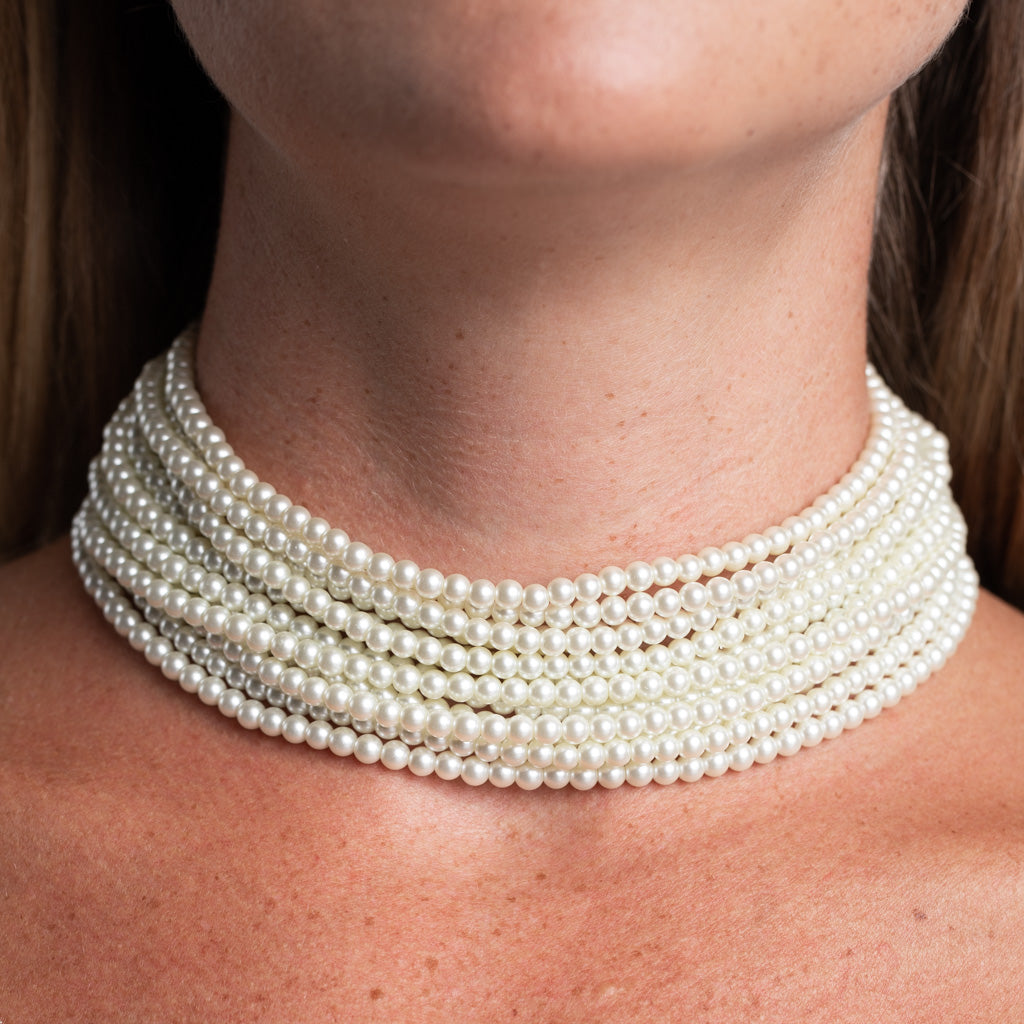 12 Row Pearl Choker Necklace