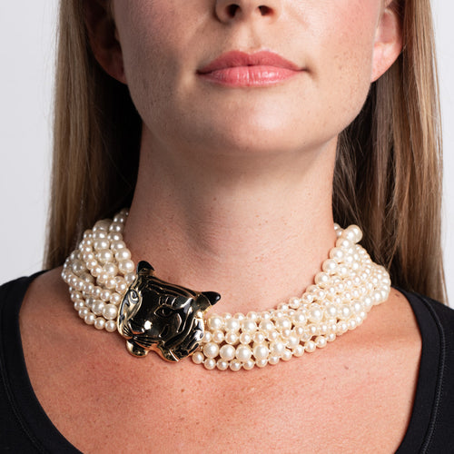 Pearl Necklace with Tiger Clasp